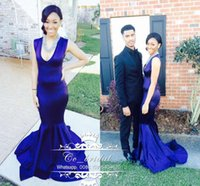 Wholesale Silk Dresse - Charming V-neck Royal Blue Evening Dresses 2017 Sexy Backless Mermaid Runway Evening Gowns Cheap Floor Length Formal Red Carpet Dresse