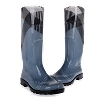 Wholesale faux suede shoes - blue luxury brand women rainboots fashional rain boots environmen pvc waterproof shoes women european size rainboot boots lady rain-boots