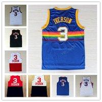 Wholesale Dream School - All style Rainbow #3 Allen Iverson Jersey Georgetown Hoyas Throwback I.V Basketball Jersey Mesh High School USA Dream Team jerseys