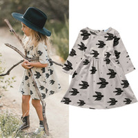 robe d'été achat en gros de-2017 Toddler Kid Clothing Baby Girls Swallow Parttern Dress Skirt Robe décontractée Vêtements d'été 2-7 ans
