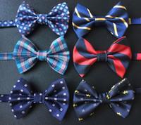 dot party supplies al por mayor-37 estilos nuevos lazos de los niños corbata de moño de la muchacha del muchacho pajarita del bebé material de hilado de poliéster niños camisa puntos florales partido de la fuente de la fuente