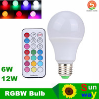 Wholesale Timed Led Dimmer - 2016 New Arrival 6W 12W E27 RGBW LED Bulb Color Light RGB White Timing Function Dimmable LED Lamp with Remote Controller Dimmer