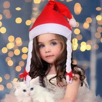Wholesale Wholesale Childrens Stuff - New 3 kinds of style Thick Ultra Soft Plush Glowing children's Christmas hats 24*33cm Cute childrens Christmas cap Led Christmas gifts