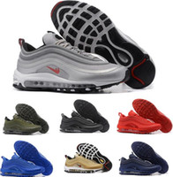 Wholesale Cushions Silver Black - 2017 Max 97 OG Running Shoes Men Silver Sneakers Maxes 97s Breathable Cushion Mag Sports Outdoor Trainers Athletic Shoes Size 7-11