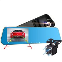 Wholesale Vehicle Motion Detector - Full HD Car Dvr Digital Video Recorder Auto Rear-view Dual Lens Camera Rearview Mirror Vehicle Registrar Dash Camcorder