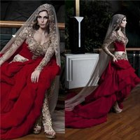Wholesale Kaftan Wedding Dresses - Kaftan Dubai Arabic Wedding Dresses With Sweetheart Embroidery Beads Long Sleeves A Line Ruffles Elegant Formal Custom Red Bridal Gowns