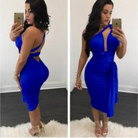 Eine Schulter Royal Blue Straight Damen Rock Kleider Knielangen Riemen Sexy Nacht Party Kleid Backless Robe Femme ete 2017