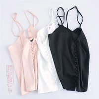 Wholesale Tank Top Sleepwear - Wholesale- summer women v neck Satin camisole tank top beach Casual backless button tops mujer Sexy sleeveless sleepwear style camis