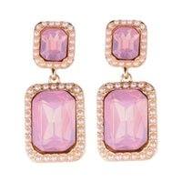 Wholesale Vintage Pink Rhinestone Earrings - Luxury Square Rhinestones Drop Dnagle Earrings for Women Wedding Party Statement Jewelry Vintage Gold Plated Earrings White Pink Color