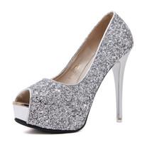 72e3024a609cc3 weiße glitzer peep toe pumps großhandel-Elegant Glitter weiß Silber Peep  Toe Plateau Pumps Brautjungfer