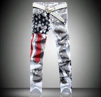 amerikan bayrağı kot erkekler toptan satış-Toptan moda sıcak erkek tasarımcı Hip Hop kot erkekler Klasik denim kanatları ile amerikan bayrağı artı boyutu 28-34