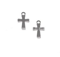 Wholesale Smallest Cross Charms - 1000pcs Silver Tone Stainless Steel Small Crucifix Cross Charm Pendants Connectors DIY Jewelry Findings For Jewelry Making 12mm*7mm