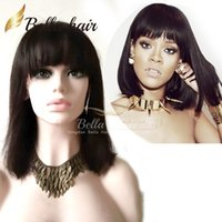 Wholesale Cute Hair Bangs - 150% Popular Wigs Bob style Silky Straight with Bang Natural Black Wig 100% Unprocessed Human Hair Wigs Cute Style BellaHair Full Lace Wigs