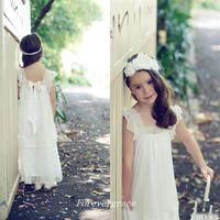 Wholesale Cute Beautiful Images - 2017 Beautiful Kids Cute Girl's Dress for Boho Wedding Cap Sleeves Pageant Dresses First Communion Dress Lace Flower Little Girls Dress