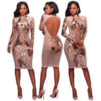Pailletten Langarm Bodycon Kleid Mode Sexy Frauen Bleistift Kleid Halter Paket Hip Party Club Kleider Cocktailkleider