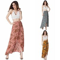Wholesale Casual Asymmetrical Skirts - Summer Women's Casual Bohemian Asymmetrical Dresses Ladies Sexy Harness Lace Stitching Dresses Skirt Holiday High Waist Dresses