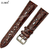 Barato Silicone Castanho Escuro-Venda por atacado - 22mm NOVO Men's Dark Brown crocodilo grão Genuine Leather Watchband Bands Strap Watch Strap Soft Band 22mm Silicone Wrist Sport