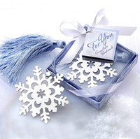 packing boxes books - 100pcs Romantic Stainless Steel Book Snowflake Bookmarks With Tassel Gift Box Packing Tags Wedding party Gifts