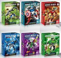 modelos de batman al por mayor-Superhéroes The Avengers Batman Iron Man Hulk Thor Capitán América Conjunto movible Ladrillos de PVC Figura modelo Juguetes Montaje de bloques de construcción