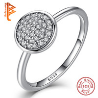 Wholesale Round Bar Sizes - BELAWANG 3 Size 925 Sterling Silver Round Shape Radiant Elegance Jewelry Inlaid Clear Cubic Zircon Finger Rings for Women Engagement