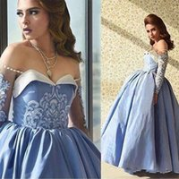 Wholesale Ankle Bones Pictures - 2018 Arabic Dubai Blue Prom Dresses Ball Gown Off Shoulder Beaded Sweetheart Illusion Long Sleeves Ankle Length Formal Evening Party Gowns