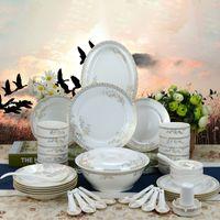 Wholesale Bone Porcelain Dinnerware - 46 Pieces Gold Edge Ceramics Dinnerware Sets Bowls Spoon Plant Bong China Porcelain in-glaze Decoration Gift