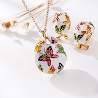Wholesale 2017 new national wind necklace retro diamond hand painted butterfly clavicle chain earrings female gift set