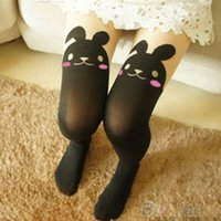 Wholesale Tattoo Knee Socks - Wholesale- 2016 Top Quality Japan Cute Sexy Rabbit Animal Print Over Knee BUNNY TAIL TATTOO TIGHTS PANTYHOSE 7EFT 7MXJ