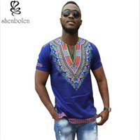 Wholesale Shirt Tribal - Mans Plus Size African Print V Neck Bright Tribal Pattern Hipster Hip Hop Top T-shirt Dashiki