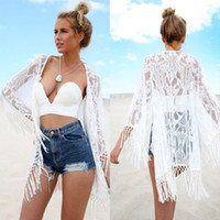 Wholesale White Lace Cardigan Dress - Sexy Women Lace Crochet Tassel Bikini Swimwear Cover Up Beach Dress Cardigan Top