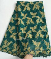 Wholesale Teal Cotton Cord - Teal gold 5 yards Swiss cord lace African guipure lace fabric Nigeria wedding Swiss lace fabric