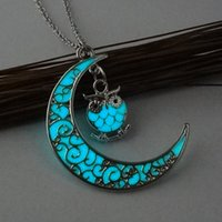 Pendant Necklaces owl moon - Cute Owl Glowing Stone Pendant Necklaces Crescent Moon Glow In The Dark Necklace For Women Jewelry Animal Luminous Necklace Gift