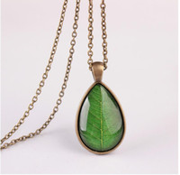 Wholesale Transparent Tin - 2017 new gold plated Trendy Vintage transparent Glass leaves long chain pendant Necklace for Women Statement Jewelry wholesale Free shipping