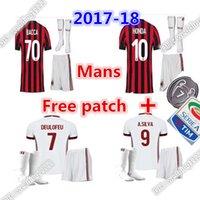 Wholesale Honda Ac - 2017 AC Milan jersey 17 18 thai quality SUSO soccer jersey AC Milan home LAPADULA HONDA BONAVENTURA ABATE DEULOFEU LOCATELLI football shirts