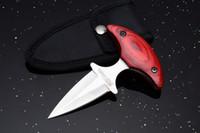 ingrosso coltello di nylon migliore-2017 nuovi piccoli pugnali manico in legno 440C 58HRC tattico esterno di campeggio di sopravvivenza coltello da tasca con fodero di nylon migliore regalo EDC