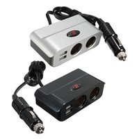 Atacado-Brand New Port USB Duplo 2 Way Socket Car Auto Cigarro Isqueiro Splitter Plug Adapter Carregador DC 12V / 24V