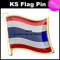 Wholesale Thailand Free Shipping Wholesale - Thailand Flag Badge Flag Pin 10pcs a lot Free shipping