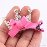 Wholesale Wholesale Toddler Bow Ties - 4 Design Toddler Girls Fashionable Sparkle Bow Ties Little Girls Rhinestone Crown Hairpins Flowers Snap Clips Hair Pins A1#