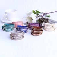 Wholesale Stackable Bangles Wholesale - Trendy multilayer Luxury Suede with Crystal Rhinestone Women's Cuff Bangle Bracelets Stackable Charm Wrist Bracelet Accessory Jewelry