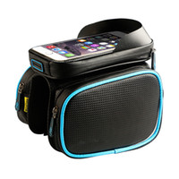 Wholesale Top Tube Bag Phone - Bicycle Frame Front Head Top Tube Waterproof Bike Bag Double IPouch Cycling For 6.0 in Cell Phone Bike Accessories