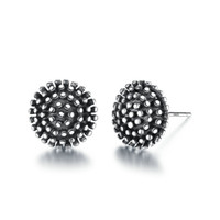 Wholesale balls for earrings for sale - Real Sterling Silver Stud Earrings for Women Men Black Polish Vintage Ball Shaped Round Brinco Fine Jewelry VSE003