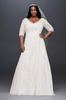 Draped Lace A-Line Plus Size Wedding Dress With V Neck Low Back Sleeves Bridal Gown Wedding Dresses 9WG3896