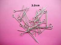 Wholesale Diy Pin Accessories - DIY jewelry accessories silver white color metal eye pin finding jewelry component 30x0.7x2mm 1050pcs bag