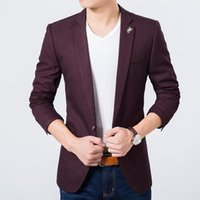 Wholesale Korean Men Jacket Luxury - Wholesale- Mens slim fit blazer high quality luxury suit jacket new korean fashion European blue blazer Male casual jacket single breasted