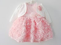 Wholesale Baby Girls Coat Dress - INS Baby White lace formal dress Poncho long-sleeve coat baby outerwear waistcoat baby lace jacket for 0-2years