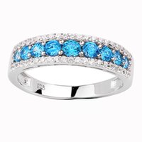 Wholesale Women Blue Topaz Wedding Ring - Women 925 Sterling Silver Promise Ring Simulated Blue Topaz Size 6 to 9 Luxury December Birthday Gift R163BT