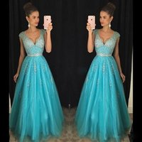 Wholesale Natural Blue Turquoise Beads - Sexy Turquoise Tulle Prom Dresses V Neck Backless Cap Sleeve Sparkly Beads Plunging Cheap Long Pageant Party Dress Evening Gowns Custom Made
