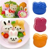 Wholesale Rice Cake Moulds - New 3pcs set DIY Cartoon Cat Rabbit Bear Series Sandwich Mould Rice And Rice Ball Mould Sushi Mould CCA6993 50set