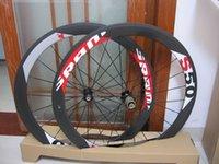 Wholesale Carbon Bike Wheel Sram Hub - EMS shipping SRAM S50 50mm rim tubular clincher Full Carbon 700C road bike wheels + spokes+ hubs A01