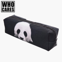 Wholesale panda pencil bag - Wholesale- Panda 3D printing cosmetic bag pencil trousse de maquillage 2017 Fashion New pouch toiletry bag organizer necessaire women bags
